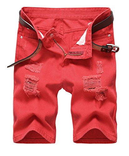 IWOLLENCE Men's Ripped Distressed Jeans Shorts Slim Fit Denim Shorts With Hole Red-US 32