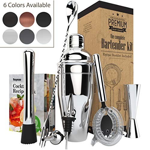 All-inclusive Bar Set | Professional Home Bartender Cocktail Shaker Set | Includes a Recipe Book & All Necessary Bar Tools and Accessories | Impressive Gift for Men! (Silver)