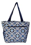 zip top tote bag - Large Multi - Pocket Fashion Zipper Top Beach Bag Tote - Custom Embroidery Available (Blue Flower Geo)