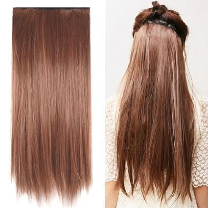 Sodial - Peluca (60 cm, de pelo liso y castaño claro)