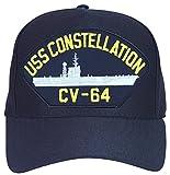 USS Constellation CV-64 Baseball Cap. Navy Blue. Made in USA