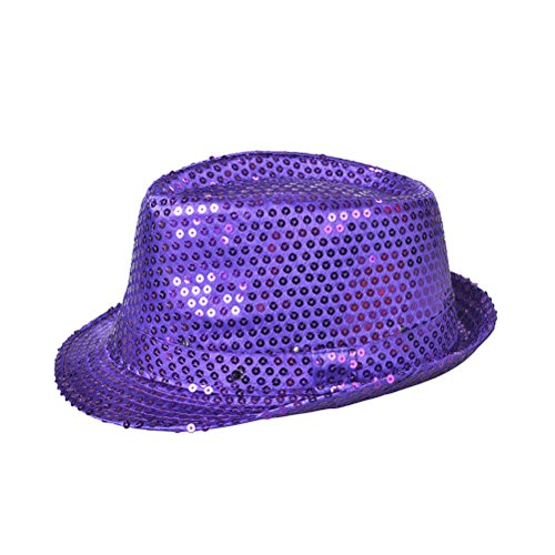 Fedora Hat Jazz Hat Cap Dance Hat Glitter Sequins Flashing LED Hat For Party Hat Dress Up Costume accessories (Purple)