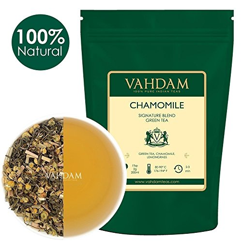 VAHDAM, Chamomile Green Tea Loose Leaf (100 Cups)   RICH IN ANTI-OXIDANTS   Chamomile Tea With Pure Green Tea Leaves   CALMING & RELAXING BEDTIME TEA   Brew as Hot Tea or Iced Tea   3.53oz (Set of 2)