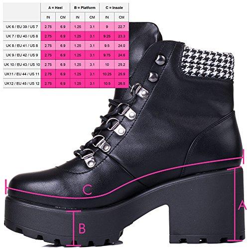 Cordone Zapatos Magpie Tacón Spylovebuy Cuero Sintético Botes Bloque Mujer Negro Bajas PaxEqw6E