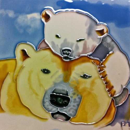 Continental Art Center BD-2052 8 by 8-Inch Mother and Baby Polar Bears Ceramic Art - Coaster Baby Tile