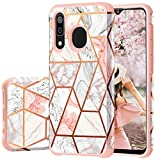 Fingic Samsung Galaxy A50 Case, Galaxy A30 Case/ A20 Case, Rose Gold Marble Design Shiny Glitter Bumper Hybrid Hard PC Soft Rubber Silicone Cover Anti-Scratch Shockproof Protective Case 2019