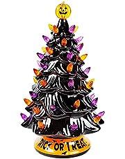 Twinkle Star Pre-lit Halloween Ceramic Tree, 12 Inch Hand-Painted Mini Tabletop Tree, Lighted Orange & Purple Bulbs Pumpkin Top, Black Glossy Finish Pine Tree Holiday Party All Saints Day Decoration