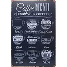 "Coffee Menu Know Your Coffee Tin Sign Wall Retro Metal Bar Pub Poster Metal 8"" X 12"" for Home & Bar&Coffee Decoration"