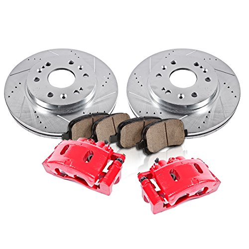 FRONT Powder Coated Red [2] Calipers + [2] Rotors + Quiet Low Dust [4] Ceramic Pads Performance Kit