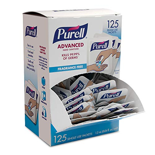 (PURELL SINGLES Advanced Hand Sanitizer Gel - 125 Count Single Use Packets with Display Box - 9620-12-125EC)