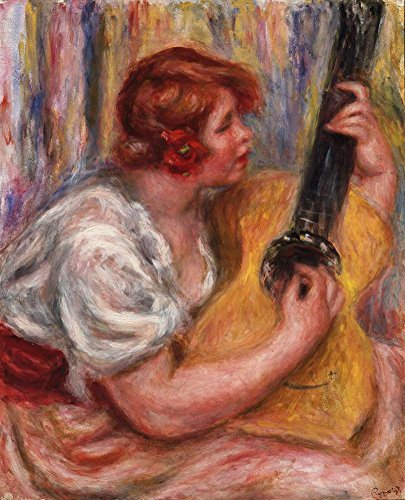 (JH Lacrocon Pierre-Auguste Renoir - Woman with A Guitar Canvas Wall Art Rolled 50X60 cm (Approx. 20X24 inch) - Figure Activity Paintings Reproductions Prints)