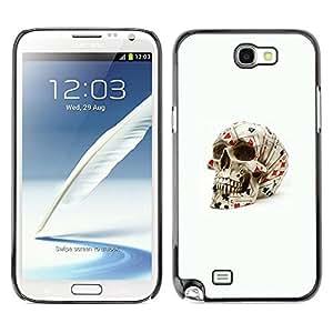 Be Good Phone Accessory // Dura Cáscara cubierta Protectora Caso Carcasa Funda de Protección para Samsung Note 2 N7100 // Poker Cards Skull Gambling Las Vegas
