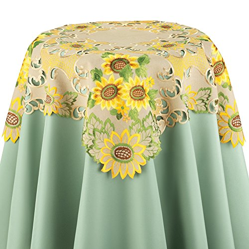 Collections Etc Embroidered Sunflowers Table Linens with Intricate Cut-Outs, Square