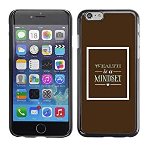 FlareStar Colour Printing Brown Mindset Text Wealth Poster Retro cáscara Funda Case Caso de plástico para Apple (4.7 inches!!!) iPhone 6