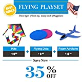 #9: ourfun Outdoor Toy Playset for Kids Boys Girls Cool Sport Toys Set Rainbow Kites Foam Airplane Dog Flying Disc 3-in-1 with Great Discount Perfect Family Games for Teens, Best Deal
