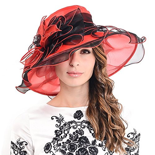 (Ladies Kentucky Derby Church Hat Wide Brim Leaf Flower Bridal Dress Hat s037 (Red&Black))