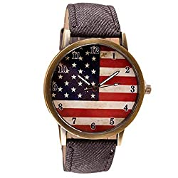 Fitfulvan New outdoors Womens Mens Watches, Unisex Flag pattern Leather Band Analog Quartz Vogue Wrist Watches BK