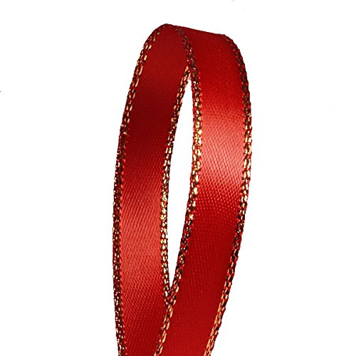 Red Satin Ribbon with Gold Edges, 3/8