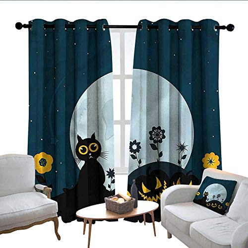 Lewis Coleridge Thermal Insulated Blackout Curtain Halloween,Kitty Under Moon,Blackout Draperies for Bedroom Living Room 84