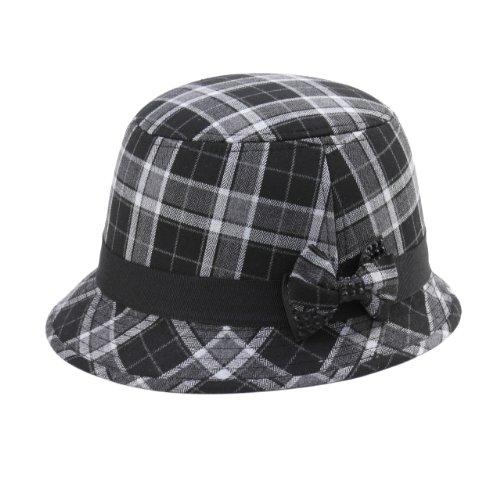 MG Infinity Selections Women's Wool Plaid Cloche Hat-8944-BLACK
