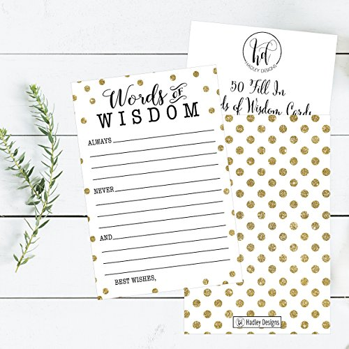 50 Gold Dot Words of Wisdom Advice Cards, Use As Graduation Advice Cards, Marriage or Wedding Advice Cards, Guest Book Alternative, Bridal or Baby Shower Party Games, Boy or Girl Baby Predictions Photo #2