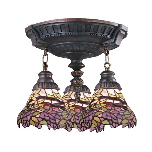 Elk 997-Aw-28 Mix-N-Match 3-Light Semi-Flush Mount, 16-Inch, Aged Walnut With Lilac Tiffany ()