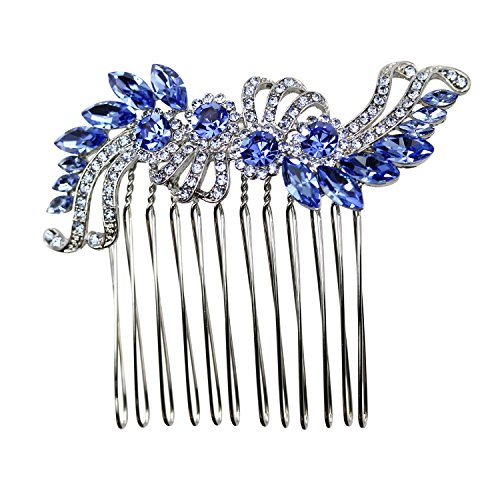 Faship Blue Crystal Hair Comb - Blue