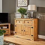 Home Source Corona Storage Cupboard Solid Pine 2 Drawer 2 Door Wooden Mexican Cabinet