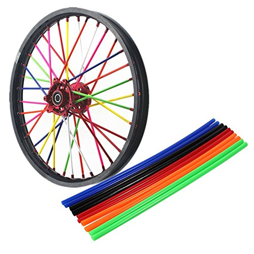 Color : Red VGEBY 72Pcs Wheel Spoke Wraps Skins Coat Trim Cover Pipe For Motorcycle Street Bike