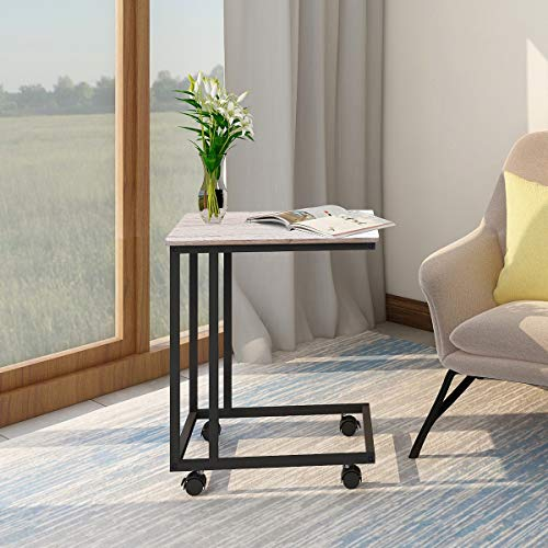 BOFENG Small Side Table Mobile Coffee Table Heavy Duty Iron Snack Tables End Desk with Wheels Nature Wood Look Accent Black Metal Frame C Tables