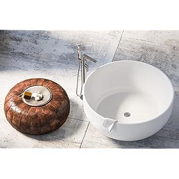 MAYKKE Vale 53 Inches Modern Round Acrylic Bathtub Freestanding White Tub  In Bathroom CUPC Certified,