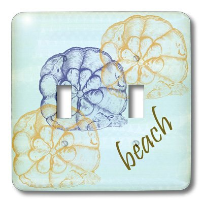 3dRose lsp/_63640/_2 Three Shells on Calming Blue Beach Themed Art Double Toggle Switch