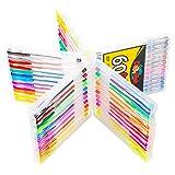 Image of Gel Pens Set - 60 Premium Coloring Gel Pen Set - Hard Case - Perfect gift for Kids & Adult Scrapbooking - Vibrant No Duplicates - Non Toxic - Color Pens Neon, Fluorescent, Glitter, Metallic, Pastel