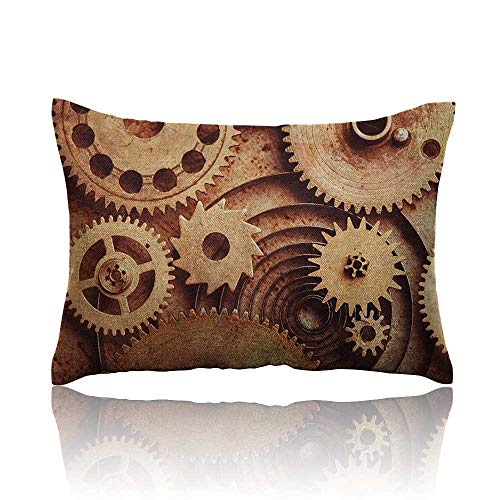 """Anyangeight Industrial Pillowcase Inside The Clocks Theme Gears Mechanical Copper Device in Steampunk Style Print Travel Pillowcase 16""""x24"""" Cinnamon"""
