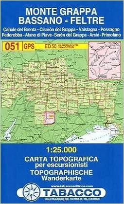 Cartina Geografica Bassano Del Grappa.Amazon It Tabacco Wandern 1 25 000 Massiccio Del Grappa Bassano Feltre Lingua Inglese 051 Tabacco Libri In Altre Lingue