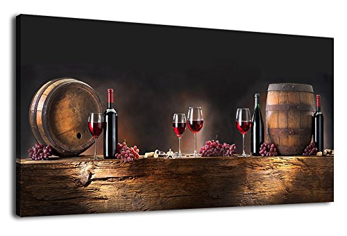 Canvas Wall Art Grapes Red Wine Bottle Oak Barrels on Wooden Board Painting Pictures Long Kitchen Canvas Artwork Dining Room Wall Art for Home Office Decoration Framed Ready to Hang 20'' x 40'' by arteWOODS