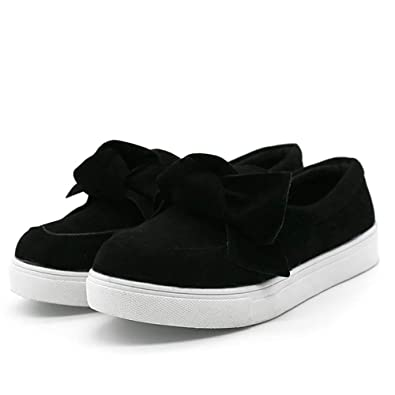 46134bcd7 Mostrin Women Flat Shoes Casual Loafers Slip on Shoes Cute Bow Comfortable  Round Toe Faux Suede