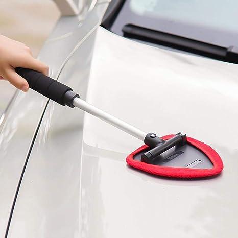 Hamhaw Auto Parabrezza Cleaner Parabrezza Pulitore con Manico Lunga Nero Spazzola Antipolvere per Pulizia Auto in Microfibra Rosso
