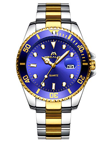 MEGALITH Mens Watches Gold Stainless Steel Watches for Men Waterproof Black Large Face Watches Men Wrist Watch Analogue…
