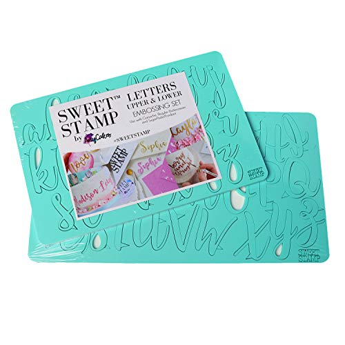 Sweet Stamp by AmyCakes Plastic Handwritten-Style Uppercase and Lowercase Letters for Embossing Cakes
