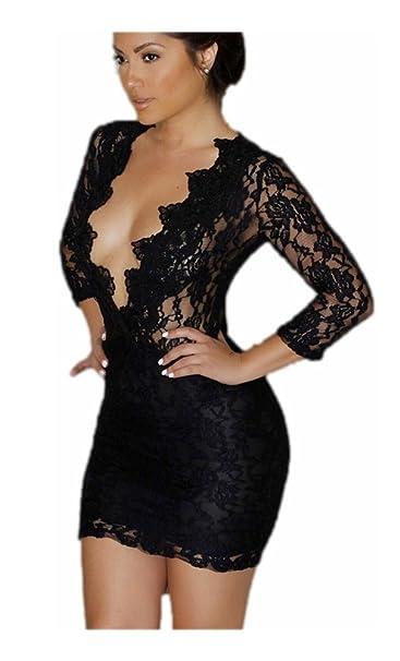 Mela Proibita - Mini abito sexy nero vestito corto club dress discoteca  pizzo trasparente donna - Nero e20dcaa76df