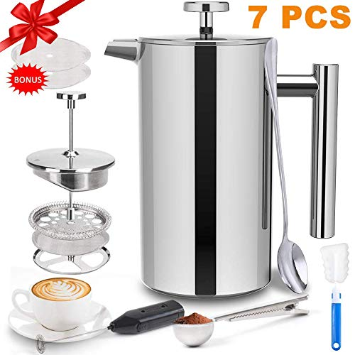 French Press Coffee Maker (34 OZ), French Press Stainless Steel with 2 French Press Filters, Milk Frother and Coffee…