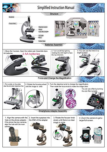 SOLOMARK Microscope for Kids and Beginners Includes 70pcs Accessory Set, 300X-600X-1200X Magnification with Metal Arm and Base Come with a Microscope Smartphone Mount by SOLOMARK (Image #6)