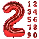 mylar number balloons - 40 Inch Red Large Numbers 0-9 Birthday Party Decorations Helium Foil Mylar Big Number Balloon Digital 2