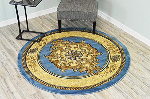 - Glamour Design 3D Effect Hand Carved Traditional Oriental Floral Rug 5'3''x5'3'' Round Blue Beige by ArtistryRugs