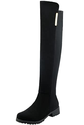 BIGTREE Knee High Boots Women Elastic Casual Fall Winter Comfortable Warm Flat Faux Suede Long Boots