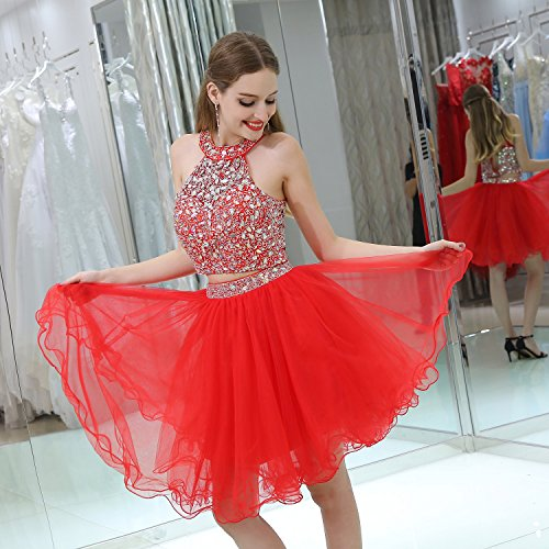 Short Halter Evening Rhine Stone Dress A Gown Red Womens Party Prom Line BessWedding qwAXpOX