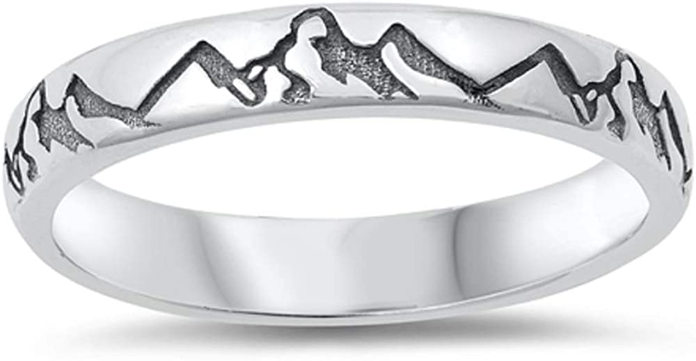 CloseoutWarehouse Oxidized 925 Sterling Silver Mountains Classic Eternity Band Ring