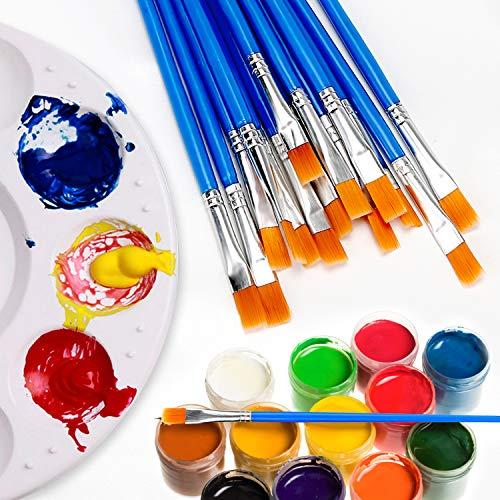 Paint Brushes Set 50 Pcs Kids Nylon Flat Hair Small Oil Watercolor Artist P A9W7