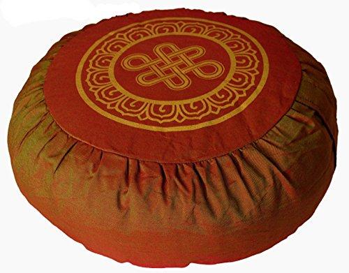 "Meditation Cushion Zafu Pillow ""Eternal Knot"" Saffron"